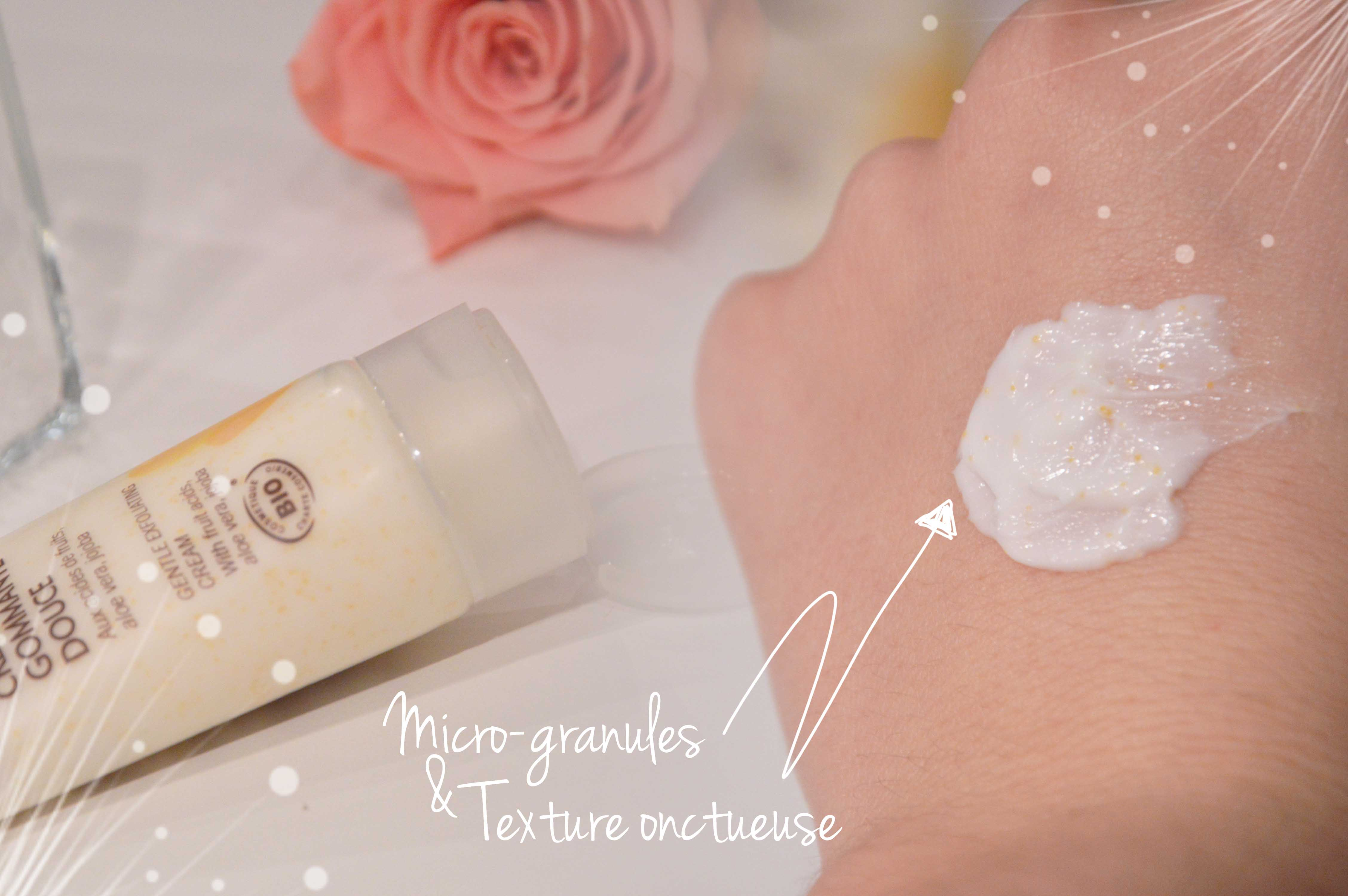 ALITTLEB_BLOG_BEAUTE_SOIN_COCOONING_FLEURANCE_NATURE_CREME_GOMMAGE_DOUCE-SWATCH