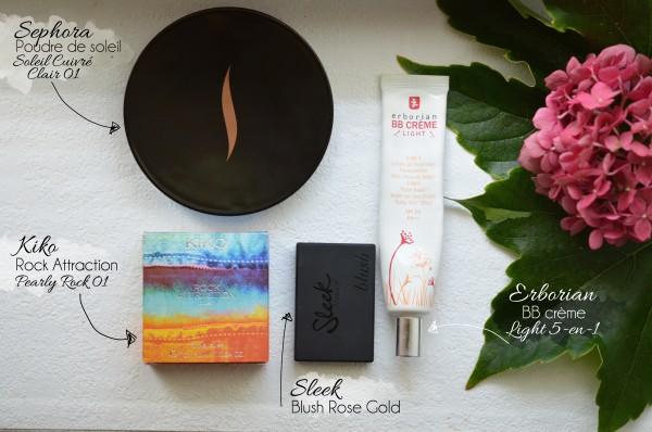 ALITTLEB-Blog-beauté-routine-teint-estivale-2014-Lumière-et-peau-halée-sephora-erborian-kiko-sleek-les-produits