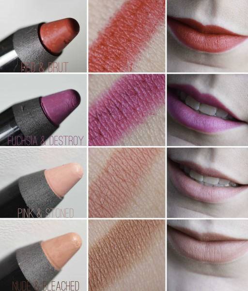ALITTLEB_BLOG_BEAUTE_LIP_AND_KISS_VELVET_LE_JUMBO_CREME_POUR_DES_KISS_KISS_VERSION_MAT-SWATCH_COLLECTION_4_TEINTES1