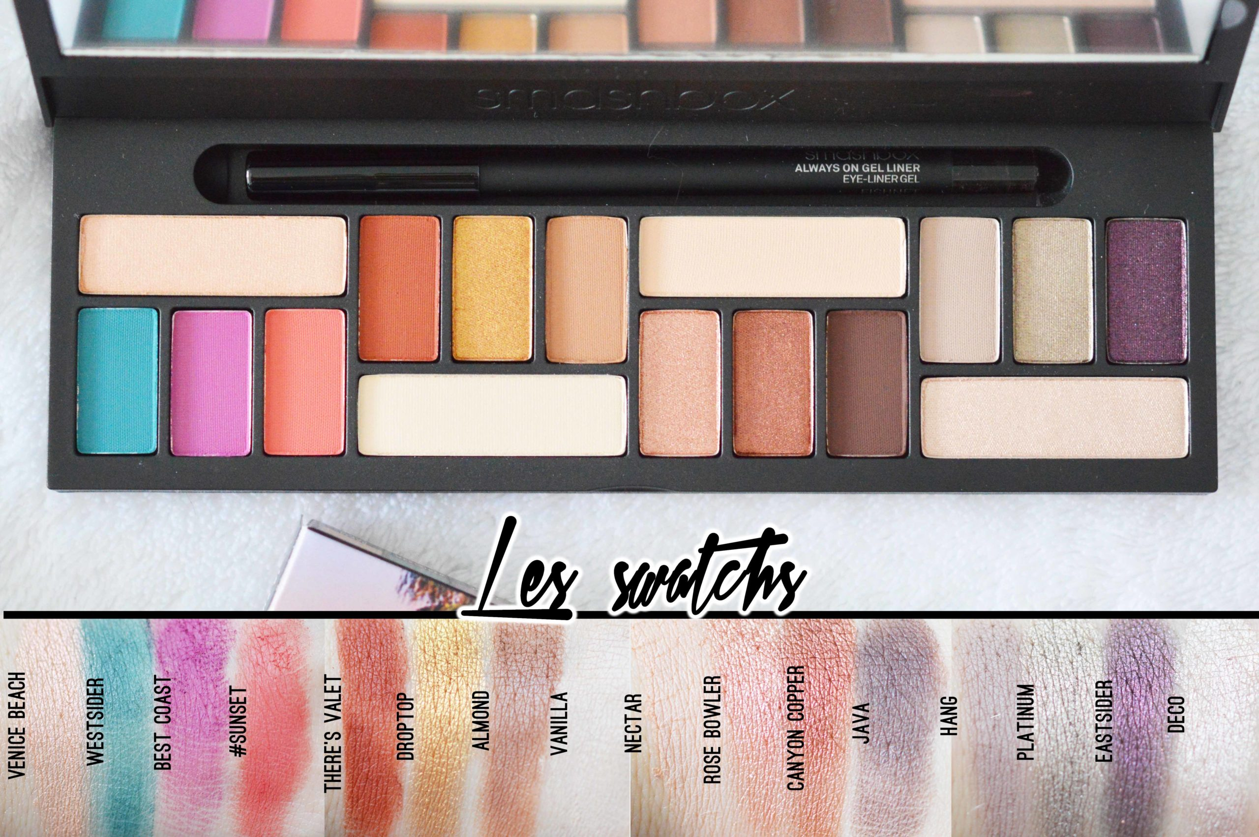 swatchs de la palette L.A Cover Shot Eye de Smashbox