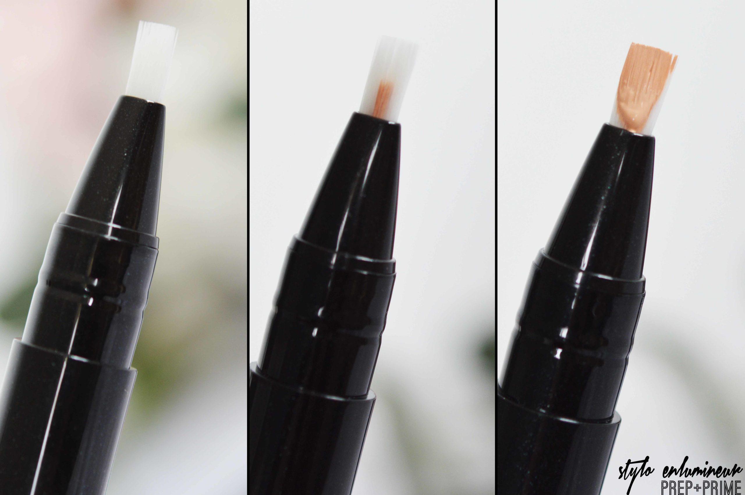 zoom sur l'enlumineur prep+prime un embout pinceau et un stylo qui se twiste