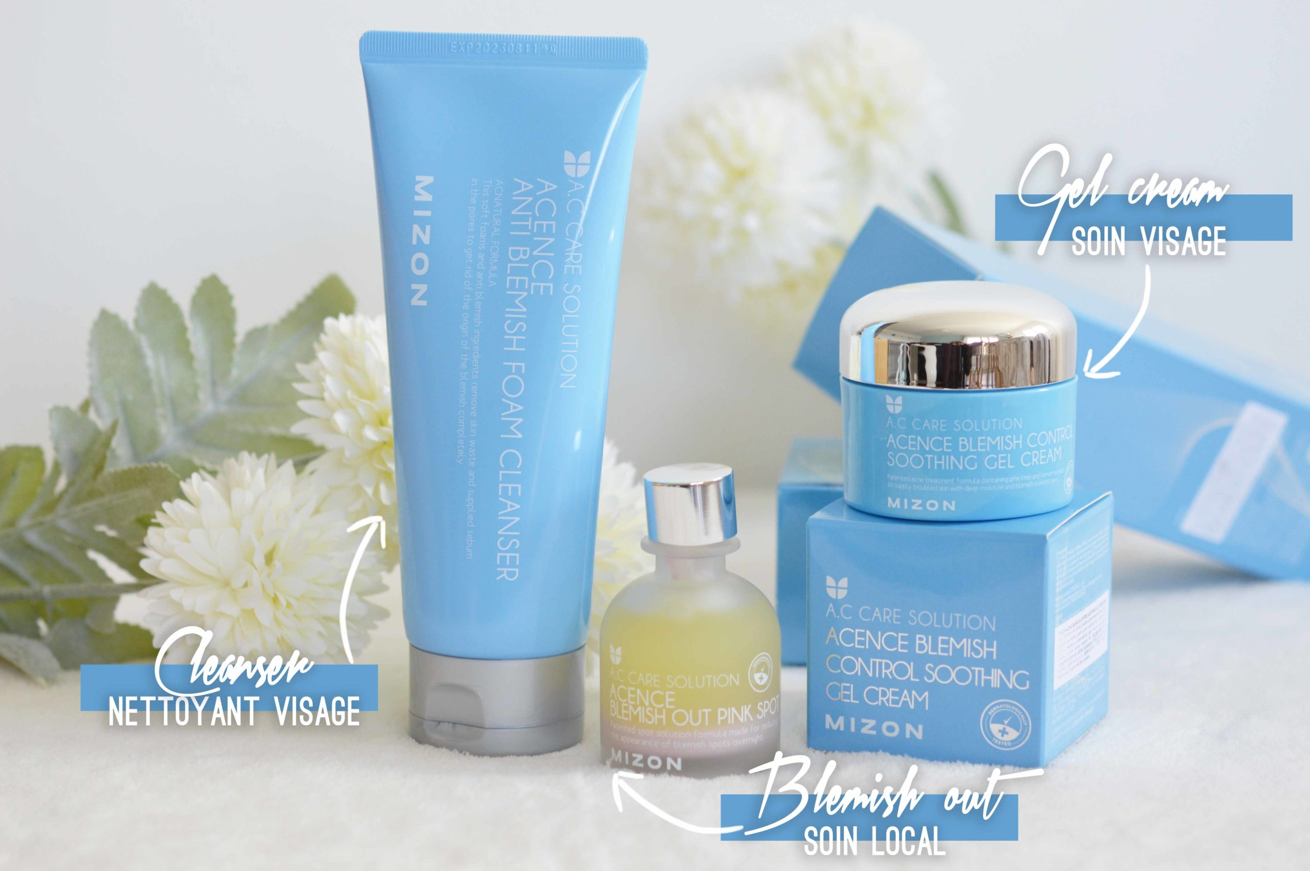 soin nettoyant , gel-crème visage et sérum local pour lutter contre les imperfections avec Mizon